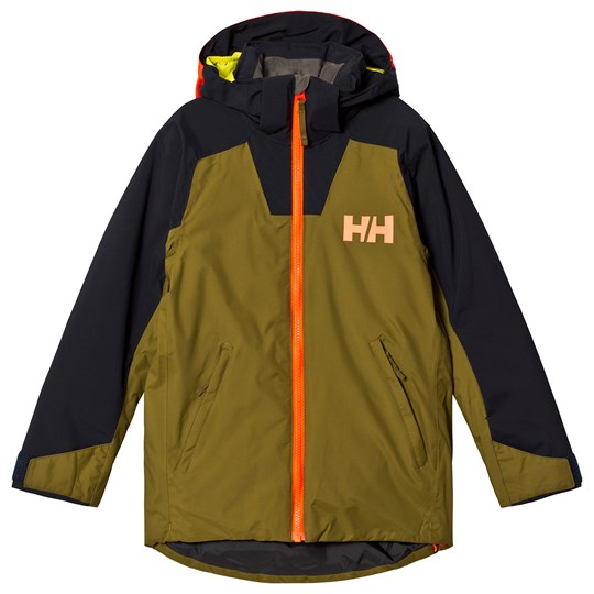 Helly Hansen Khaki & Teal Twister Junior Ski Jacket 487