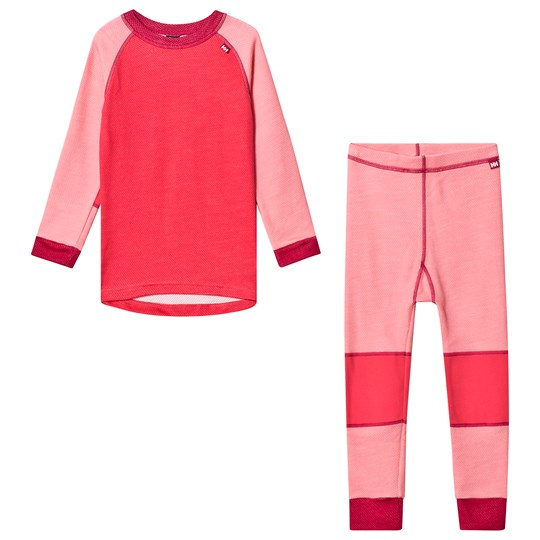 Helly Hansen Pink Colourblock Lifa Merino Kids Baselayer Set 167