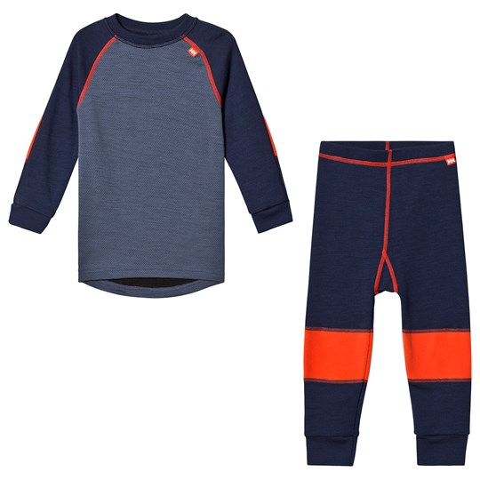 Helly Hansen Blue Colourblock Lifa Merino Kids Baselayer Set 695