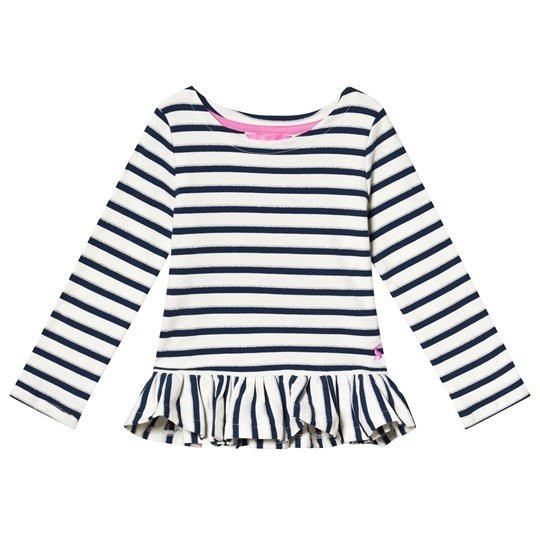 Tom Joule Navy and White Strip Peplum Top Cream Navy Lurex Stripe