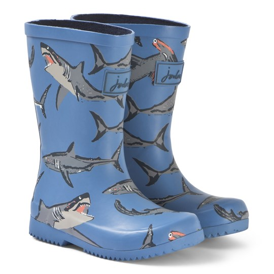 Joules Blue Shark Print Rain Boots Light Blue Sharks