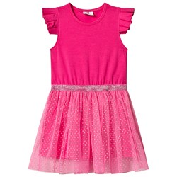 Hootkid Платье Pink Frill Sleeve Dotty Net Skirt Dress