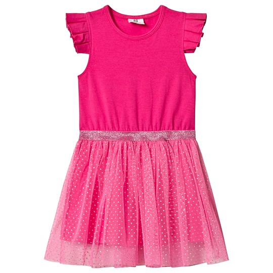 Hootkid Pink Frill Sleeve Dotty Net Skirt Dress Pink