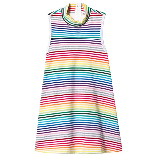 Hootkid Rainbow Stripe Sleeveless Trapeze Dress WHITE RAINBOW