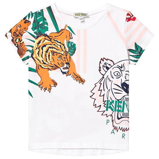 Kenzo White Hawaii Tiger and Branded Tee 01
