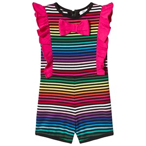 Image of Hootkid Black Rainbow Stripe Bow Tie Frill Romper 7 years (1244077)