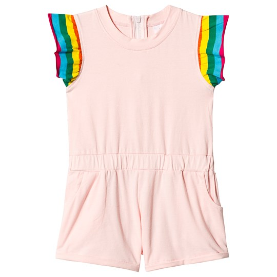 Hootkid Pink Drop Waist Romper with Rainbow Frill Sleeve Ballet Pink/Candy Rainbow