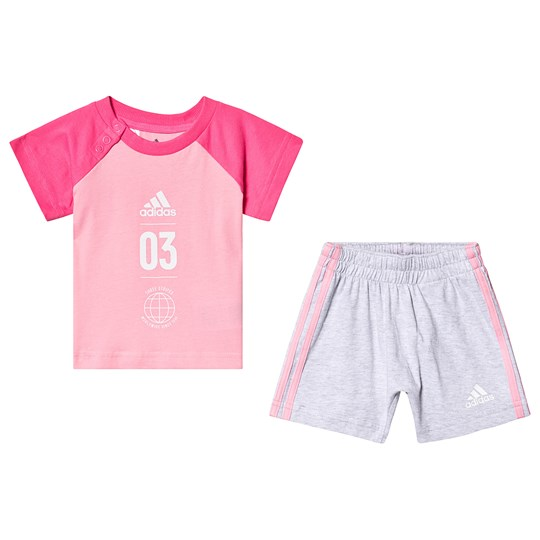 adidas Performance Pink Tee and Grey Shorts Set Top:light pink/semi solar pink/white Bottom:LIGHT
