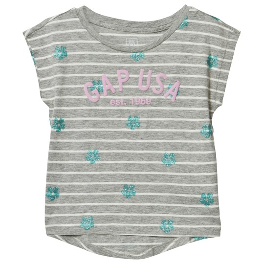 GAP Logo Floral Stripe Hi-Lo Tee Grey Heather B10 GREY HEATHER