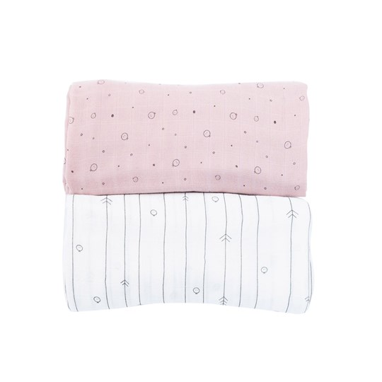Mori Blush and White XL Muslin Swaddle 2-Pack Blush & Forest