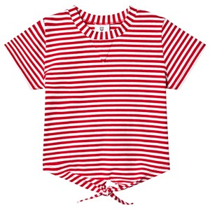 Image of Hootkid Red Stripe Tie Front 3/4 Sleeve Tee 8 år (1243988)