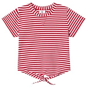 Image of Hootkid Red Stripe Tie Front 3/4 Sleeve Tee 4 år (1243984)