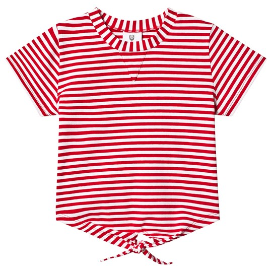 Hootkid Red Stripe Tie Front 3/4 Sleeve Tee Red/White Stripe