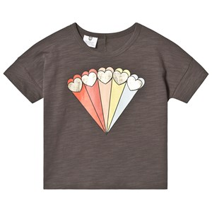 Image of Hootkid Black Rainbow Shooting Heart Cropped Tee 12 år (1244286)