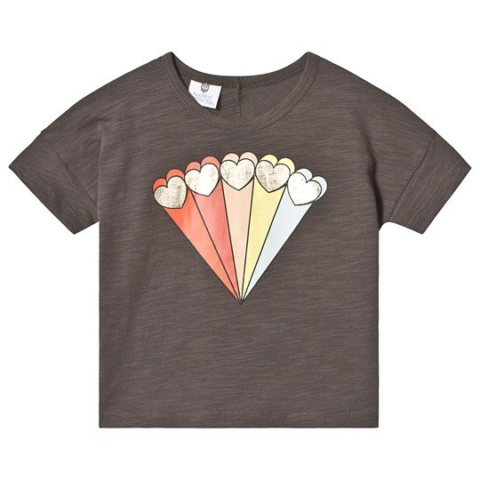 Hootkid Black Rainbow Shooting Heart Cropped Tee Graphite Slub