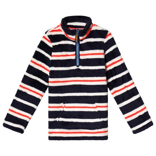 Tom Joule Multi Stripe Half Zip Fleece Navy Cream Multi Stripe