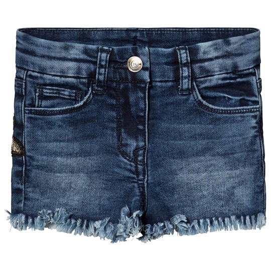 Monnalisa Blue Denim Lola Bunny Sequin Applique Frayed Shorts 55