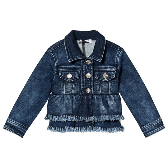 Monnalisa Blue Denim Lola Bunny Sequin Applique Frayed Jacket 55