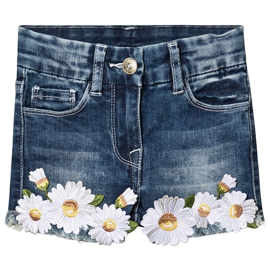 Monnalisa Blue Denim Daisy Frayed Shorts 55