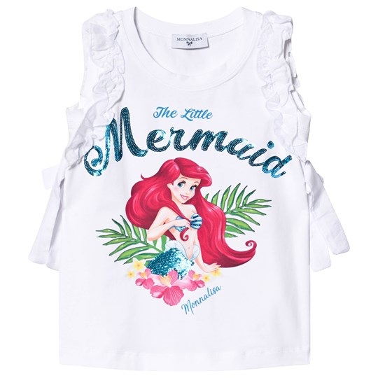 Monnalisa White The Little Mermaid Ruffle Sleeve Tunic 99