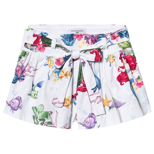Monnalisa White The Little Mermaid Tie Waist Shorts 9984