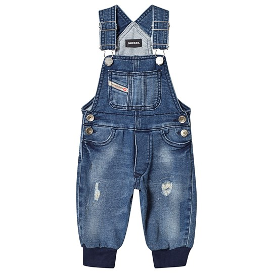 Diesel Blue Distressed Jog Denim Padded Dungarees K01