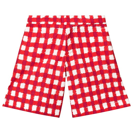 Marni Red and White Check Shorts 0M414