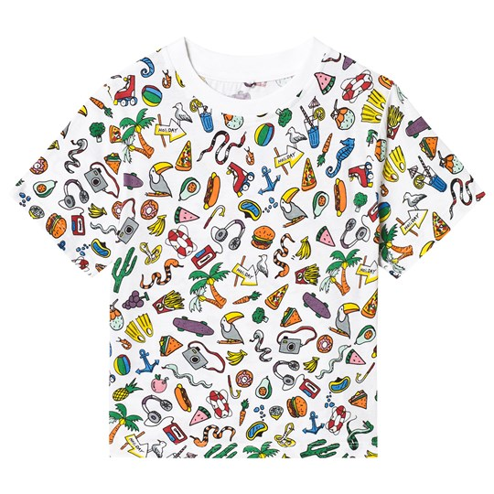 Stella McCartney Kids Grey Toys & Food All Over Print Tee 9091 - Toys&Food Aop White