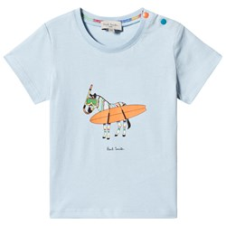 Paul Smith Junior Pale Blue Surfing Zebra Print Tee