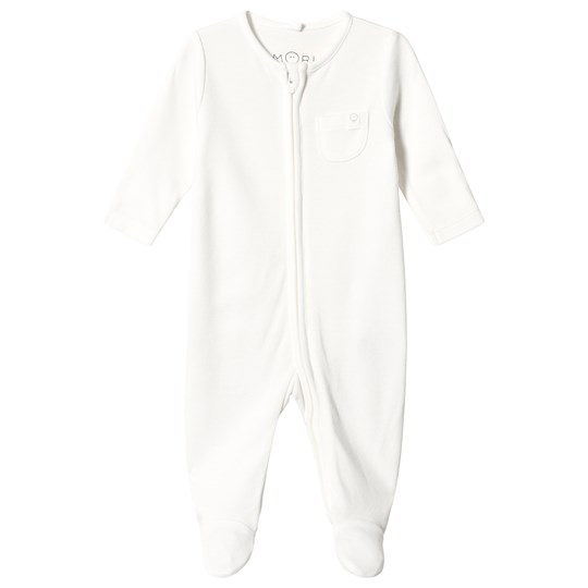 Mori White Zip Up Footed Baby Body White
