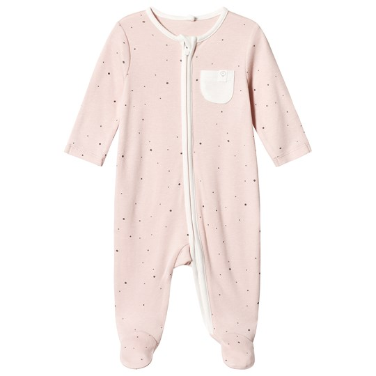 Mori Pink Stardust Zip Up Footed Baby Body Stardust