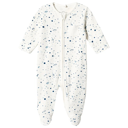 Mori Blue Planets Zip Up Footed Baby Body SPACE
