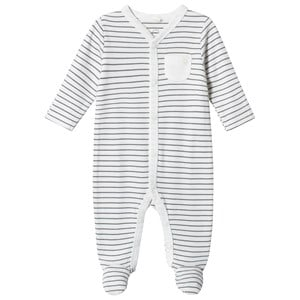 Image of Mori Grey Stripe Footed Baby Body 0-3 months (1316928)