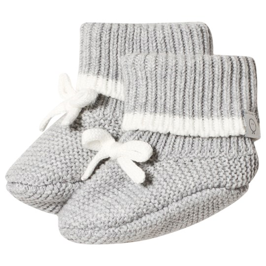 Mori Grey Knitted Booties Grey & White