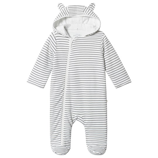 Mori Grey Stripe Footed Onesie Grey Stripe