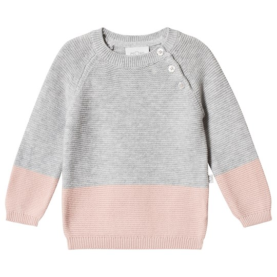 Mori Grey and Pink Sweater Grey & Blush