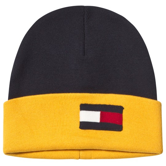 Tommy Hilfiger Navy and Yellow Flag Beanie 413