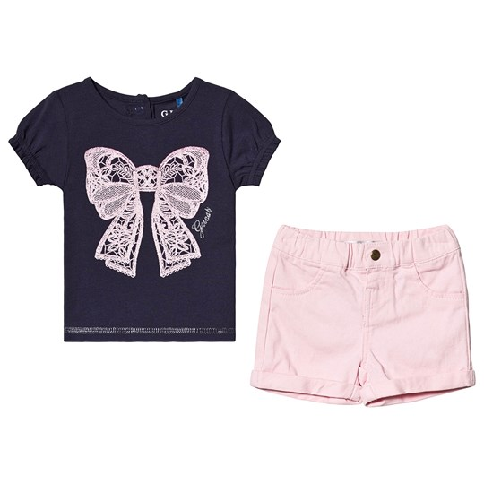 Guess Navy Tee and Pink Shorts Set FABL