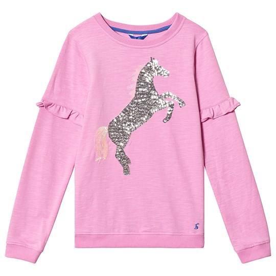 Joules Pink Unicorn Sequin Sweatshirt Car Pink