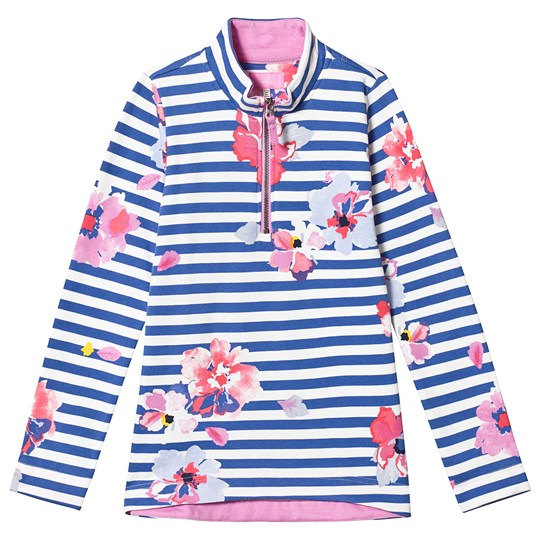 Tom Joule Blue Stripe Floral Half Zip Sweatshirt Mid Blue floral