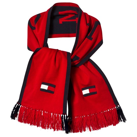 Tommy Hilfiger Red and Navy Branded Flag and Logo Scarf 901