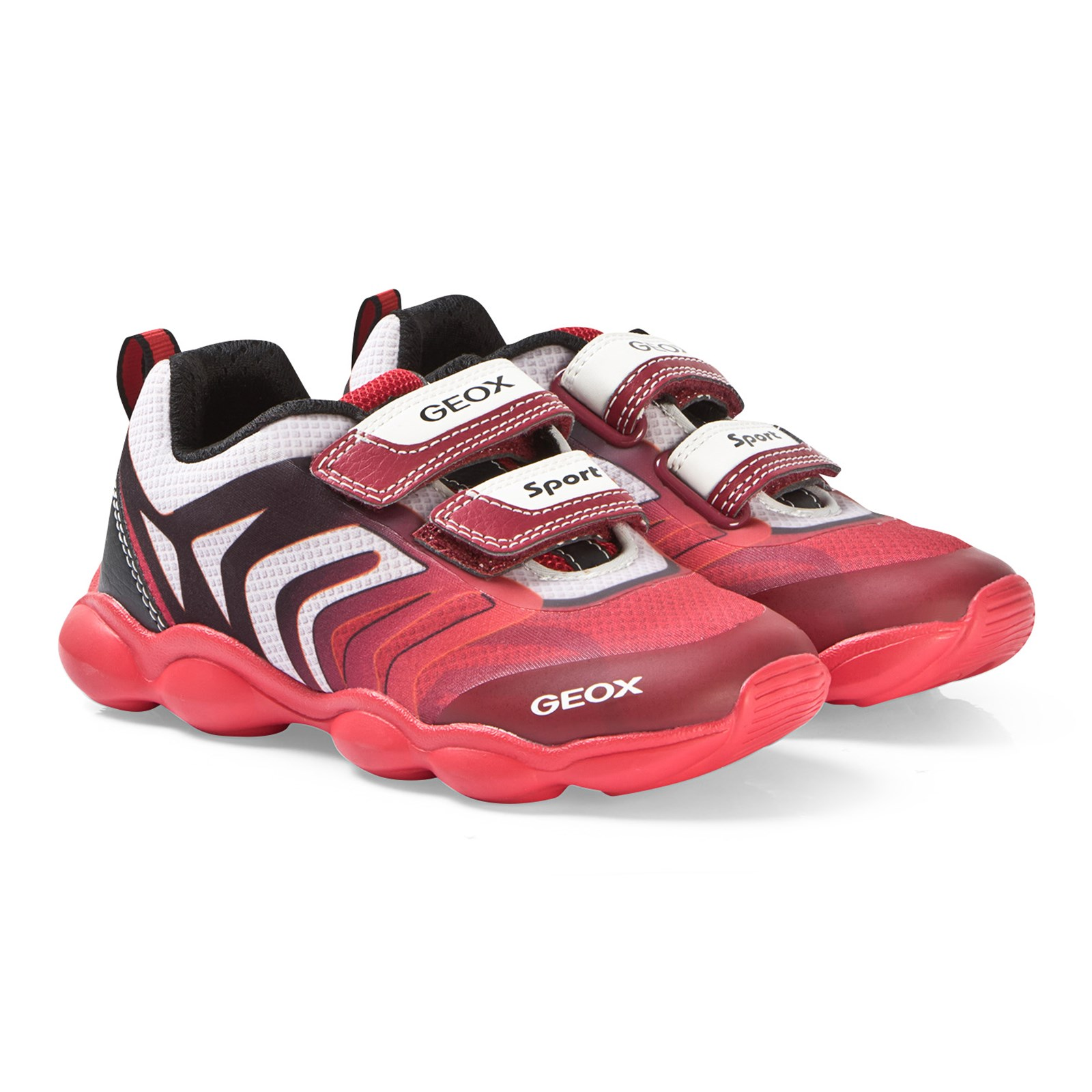 Geox Munfrey J024BC Royal Blue//Red Boys Rip Tape Light Up Trainers