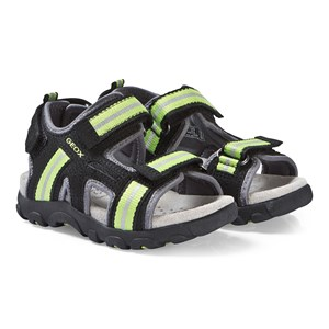 Image of Geox Black and Lime Strada Sandals 29 (UK 11) (3125246335)