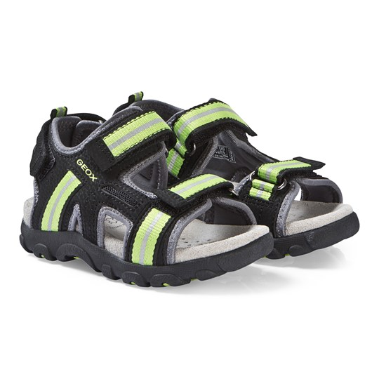 Geox Black and Lime Strada Sandals C9B3S