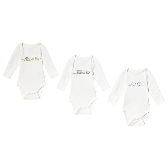 Mori Animal Family Baby Body 3-Pack White