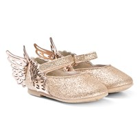 170c9649d7 Sophia Webster Mini Gold Glitter Evangeline Shoe With Angel Wing Detail  Champagne Glitter