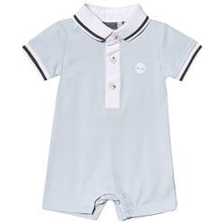 Timberland Pale Blue Polo Romper With White Collar