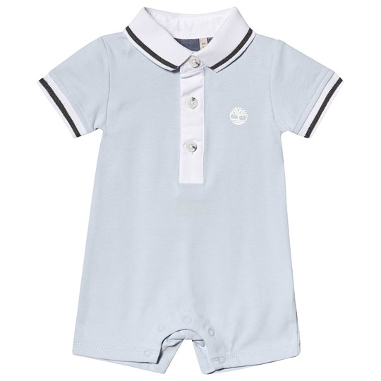 Timberland Pale Blue Polo Romper With White Collar 781
