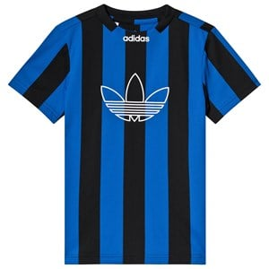 Image of adidas Originals Black and Blue Stripe Trefoil Jersey Tee 10-11 years (146 cm) (3125328785)