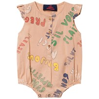 The Animals Observatory Butterfly Babies Romper Toasted Almond Words  Toasted Almond Words 69121cbbe8cba